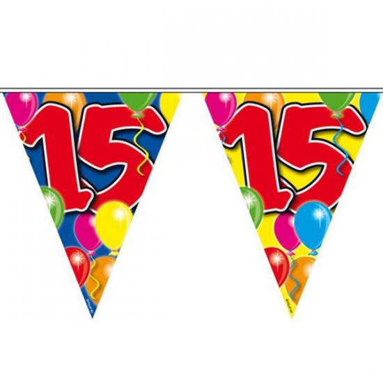 Leeftijd feestartikelen Folat Vlaggenlijn 15 jaar 10 meter