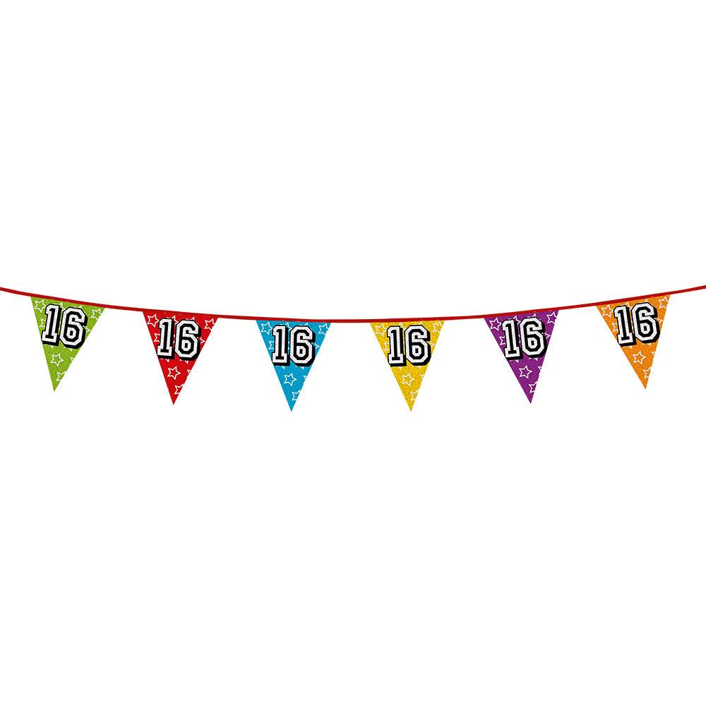 Leeftijd feestartikelen AlleKleurenShirts Vlaggenlijn 16 jaar feestje