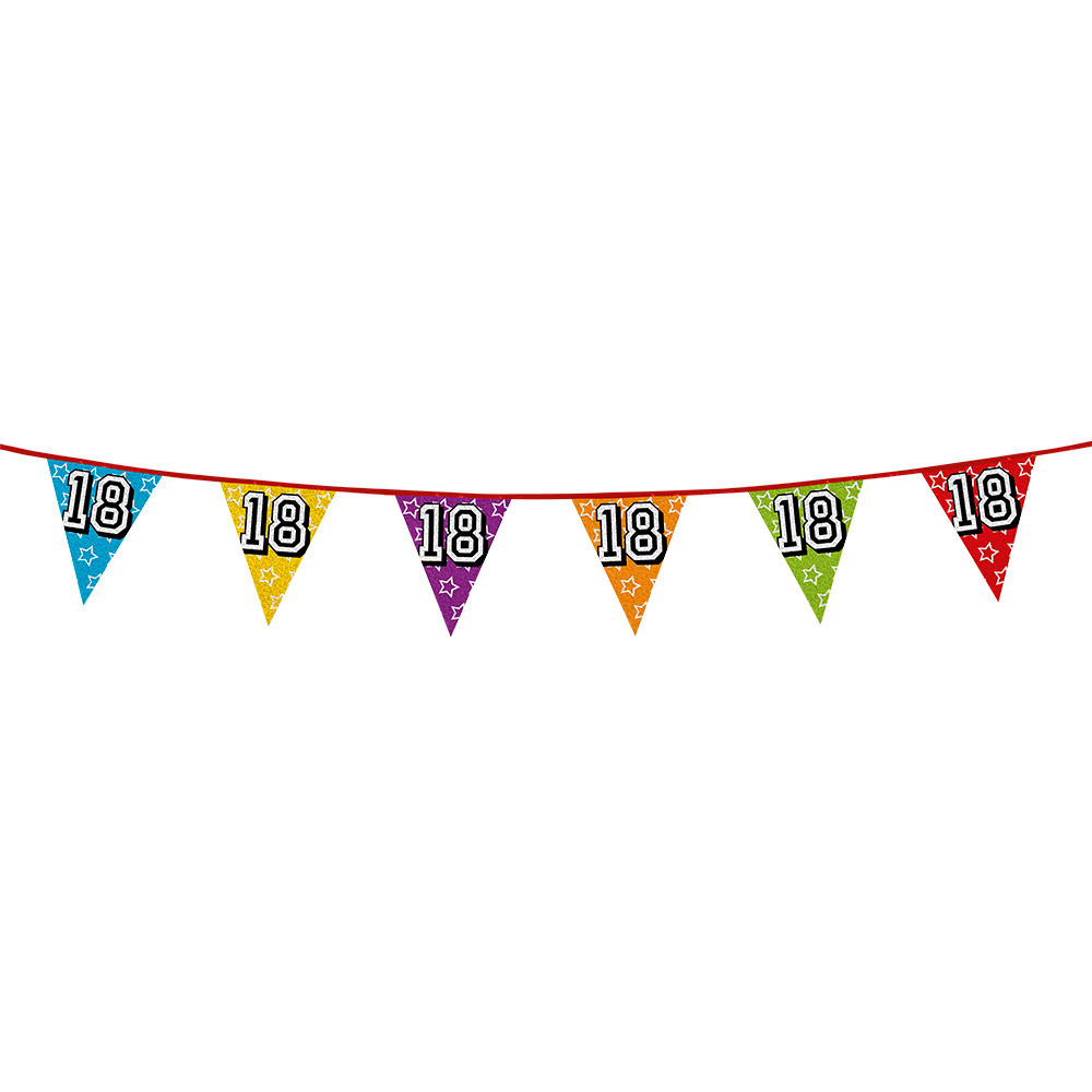Leeftijd feestartikelen AlleKleurenShirts Vlaggenlijn 18 jaar feestje