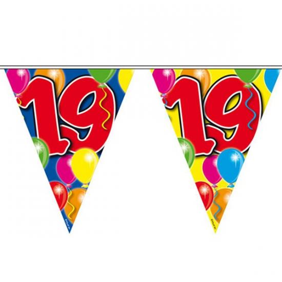 Leeftijd feestartikelen Folat Vlaggenlijn 19 jaar 10 meter
