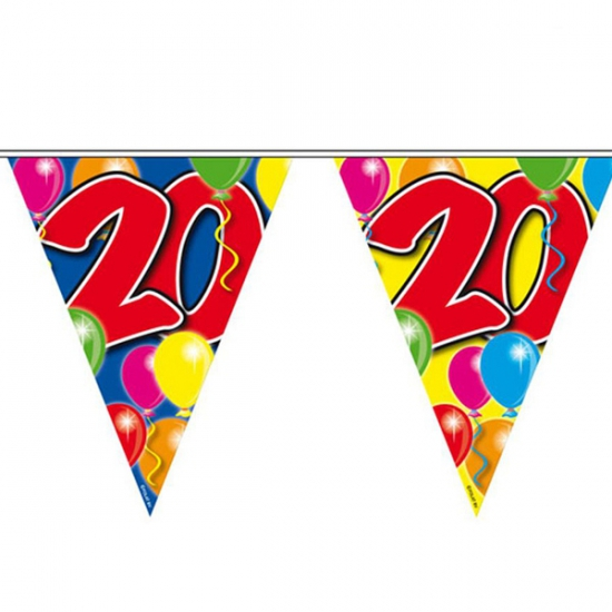 Leeftijd feestartikelen Vlaggenlijn 20 jaar 10 meter