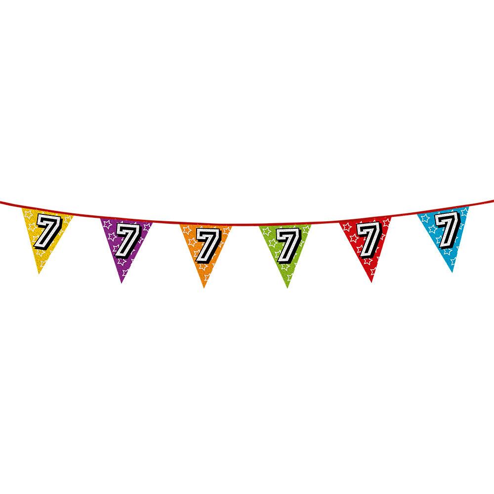 Vlaggenlijn 7 jaar feestje AlleKleurenShirts nieuw