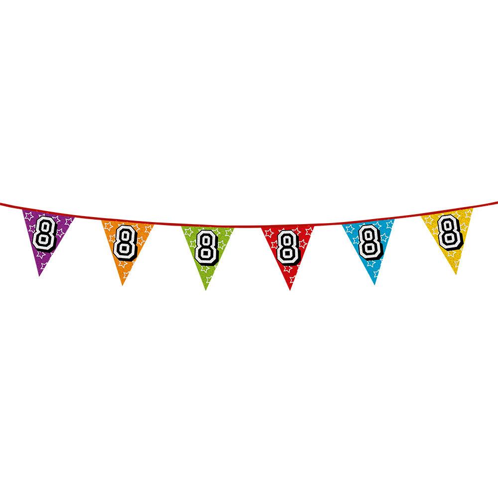AlleKleurenShirts Vlaggenlijn 8 jaar feestje Leeftijd feestartikelen
