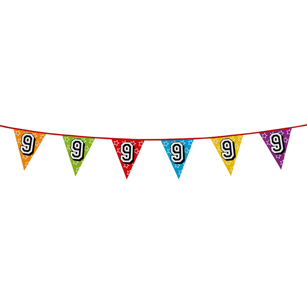 Leeftijd feestartikelen AlleKleurenShirts Vlaggenlijn 9 jaar feestje