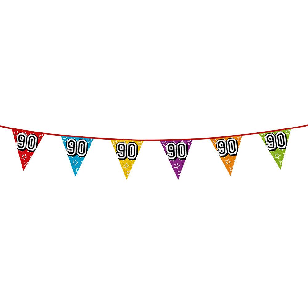 Leeftijd feestartikelen AlleKleurenShirts Vlaggenlijn 90 jaar feestje