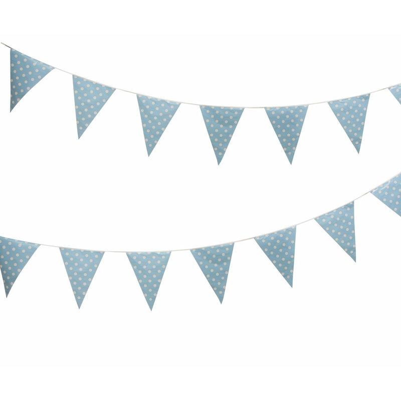 Feestartikelen diversen AlleKleurenShirts Vlaggenlijn blauw met witte stippen 4 meter