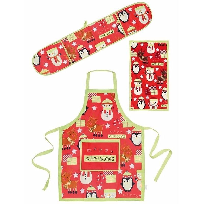 Winter keuken textielset funny 3-delig