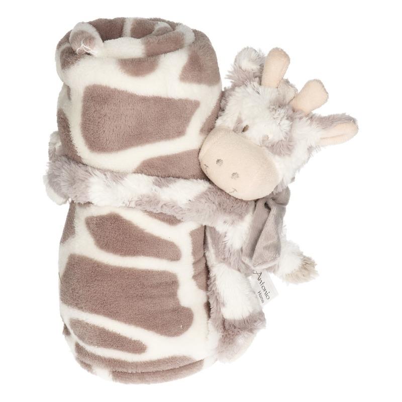 Wit-grijze dierenprint deken 100 x 75 cm met klittenband koeien-stieren knuffel