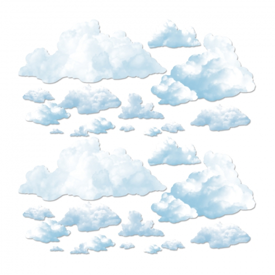Feestartikelen diversen AlleKleurenShirts Witte wolken decoratie 24 delig
