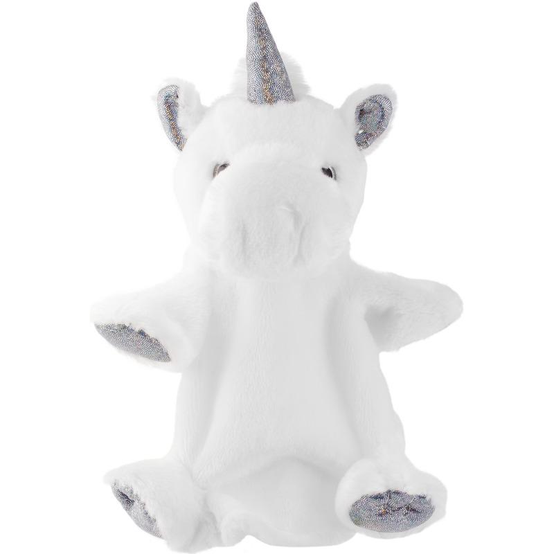 Witte-zilveren eenhoorns handpoppen knuffels 25 cm knuffeldieren