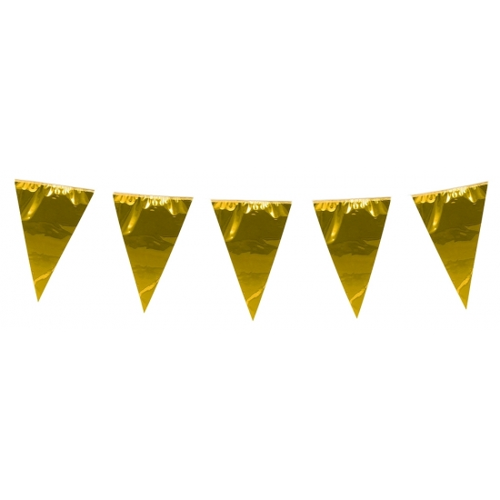 Kleuren versiering AlleKleurenShirts XXL goudkleurige slingers 10 meter