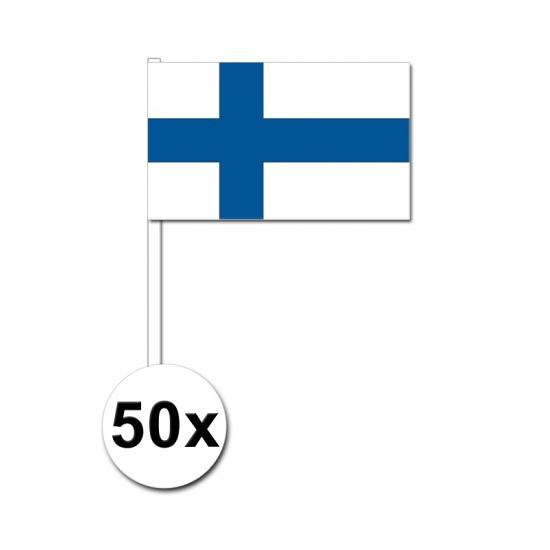 Landen versiering en vlaggen AlleKleurenShirts Zwaaivlaggetjes Finland 50 stuks