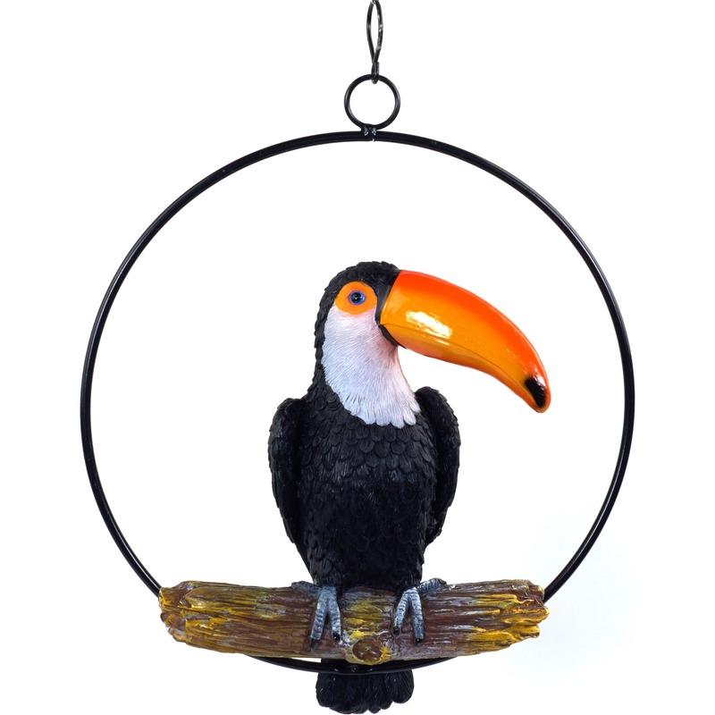 Zwart tuindecoratie beeld toekan vogel 20 cm in ring