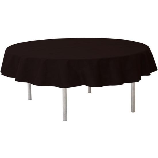 Zwarte ronde tafelkleden-tafellakens 240 cm van stof