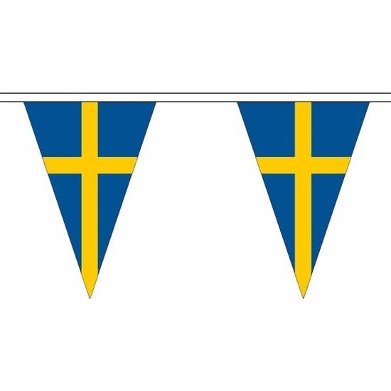 Landen versiering en vlaggen AlleKleurenShirts Zweden slinger met puntvlaggetjes 20 meter