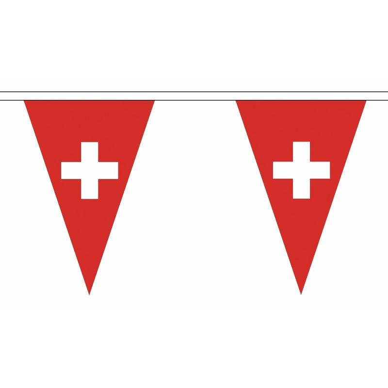 Zwitserland slinger met puntvlaggetjes 5 meter AlleKleurenShirts Landen versiering en vlaggen