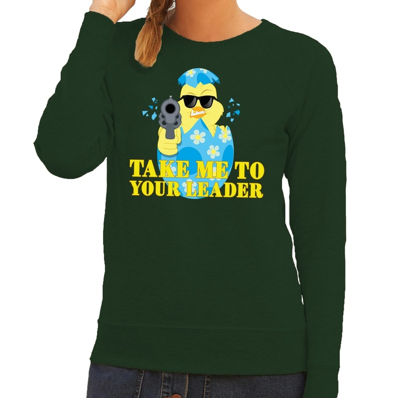 Fout Pasen sweater groen take me to your leader voor dames