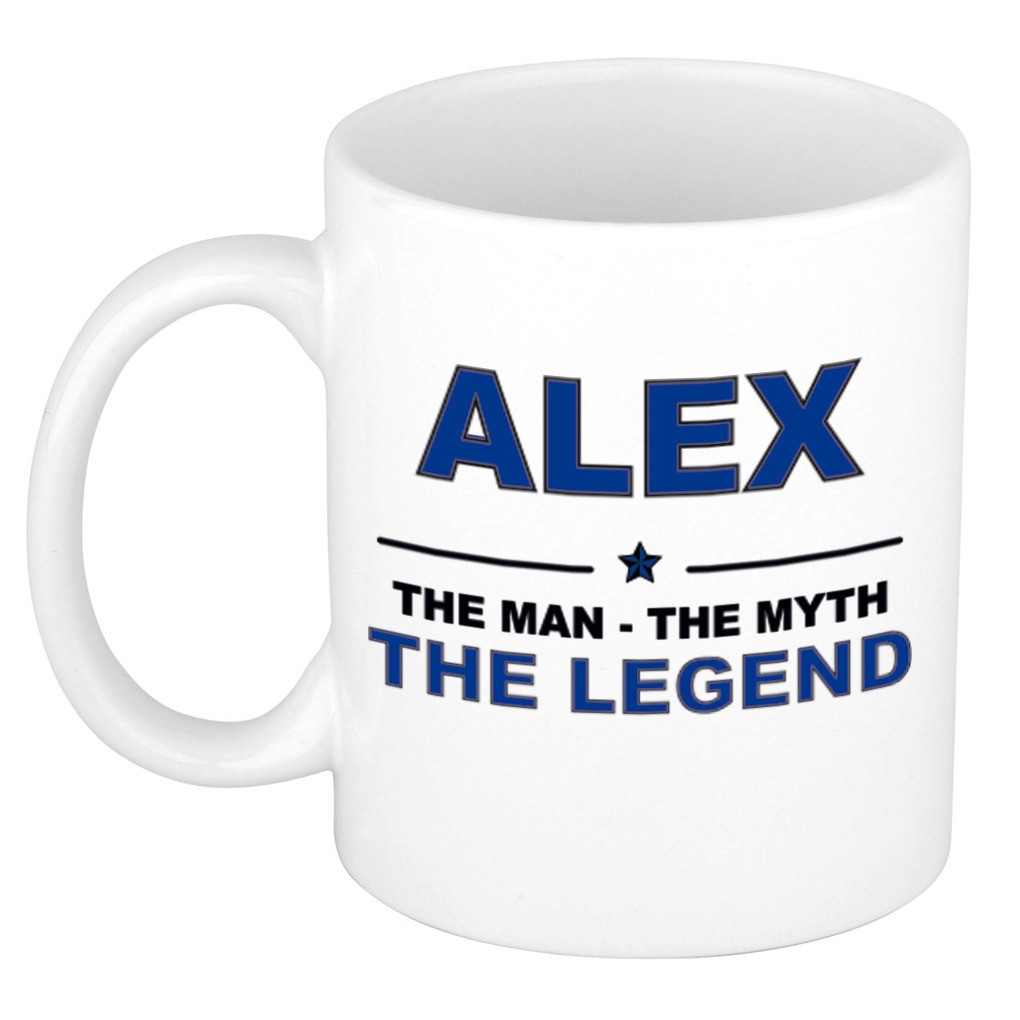 Naam cadeau mok- beker Alex The man, The myth the legend 300 ml