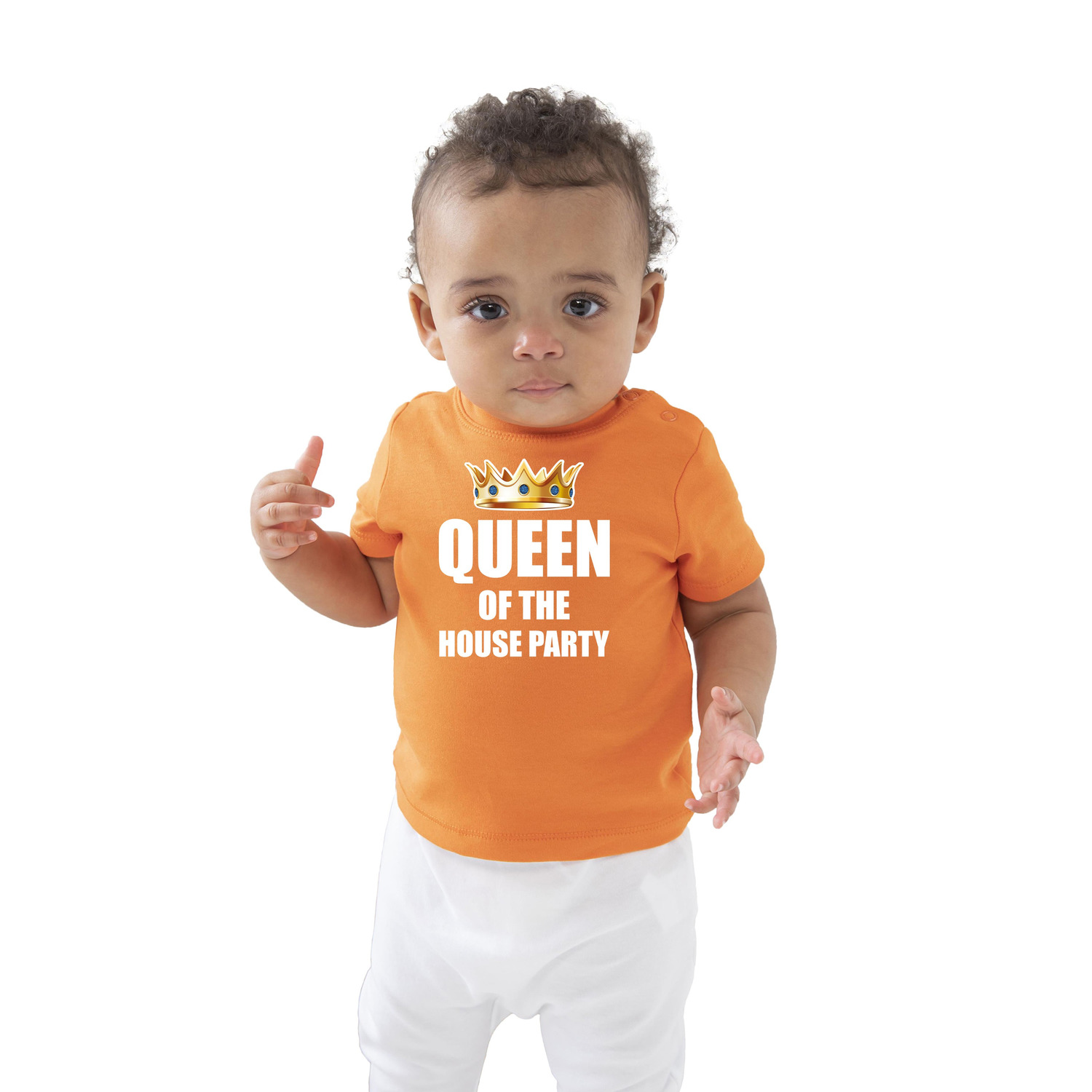 Queen of the house party t-shirt oranje Koningsdag baby-peuter voor meisjes