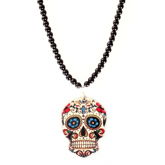 Zwarte parelketting sugar skull